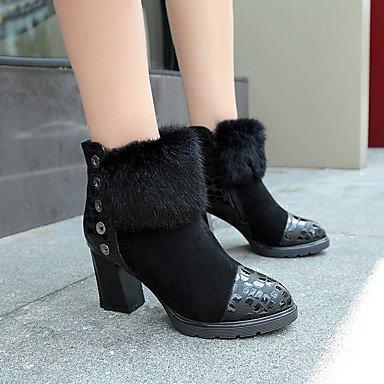 Wuyulunbi@ Scarpe Donna Tessuto Autunno Inverno Comfort Stivali Chunky Heel Babbucce/Stivaletti Zipper Per Casual Marrone Scuro Rosso Nero US8 / EU39 / UK6 / CN39