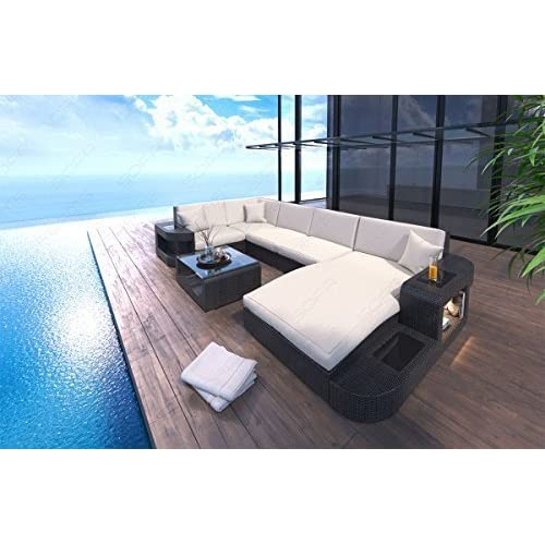 Poly Rattan Sofa Set Wave with LED