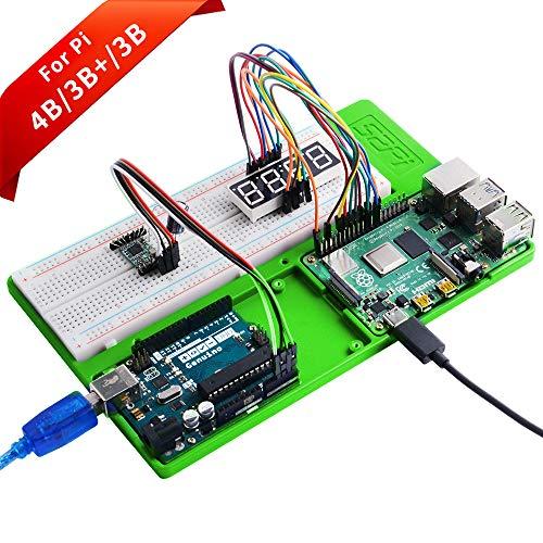 GeeekPi Raspberry Pi 4 Holder ABS Holder Breadboard Holder, 5 in 1 Base Plate Case Per Raspberry Pi 4B,3B+,3B,2B,B+,ZERO,ZERO W,Arduino UNO,Arduino Mega 2560 (Verde)
