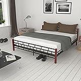 6FT Super King Size Metal Bed Frame Black Bedstead Platform Base With 2 Headboards Bedroom Furniture