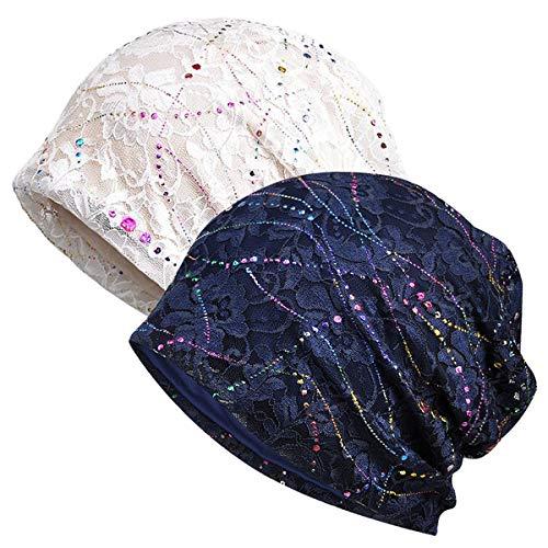 WELROG Chemo Hut Frau Hut Spitzen Kopftuch Super Weich Slouchy Turban Kopfbedeckungen Kopf Wraps(Navy Blue/White)