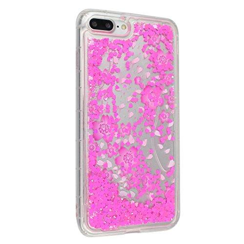 Case iPhone 7 Plus Treibsand Schale 5.5 Zoll, iPhone 7 Plus Flüssig Hülle, Moon mood® iPhone 7 Plus Durchsichtige Handyhülle 3D Creative Case Mode Bunten Transparente Kristallklaren Sparkly Silikon TP Stil 7