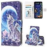 TASoker Handyhülle für LG K40 Hülle Premium Leder 3D Flip Schutzhülle Tasche Bookstyle Brieftasche Schutzhülle Handytasche Magnetisch Kartenfach Ständer Etui Wolf