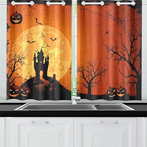 ight Black Castle On Moon Küchenvorhänge Fenster Vorhangebenen für Café, Bad, Wäscherei, Wohnzimmer Schlafzimmer 26 X 39 Zoll 2 Stück ()