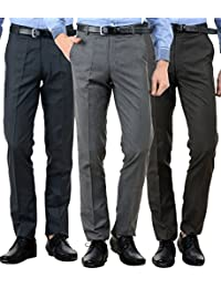 American-Elm Men's Cotton Formal Trousers - Combo of 3