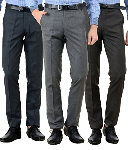 American-Elm Men's Formal Trousers - Combo of 3 (Multicolour, 32)