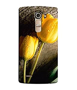 FUSON Designer Back Case Cover for LG G4 :: LG G4 Dual LTE :: LG G4 H818P H818N :: LG G4 H815 H815TR H815T H815P H812 H810 H811 LS991 VS986 US991 (Grey Background yellow Roses Cute Flowers Water droples)