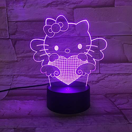Liebevolle Kätzchen Katze, Nachtlicht, 3D Illusion Nachtlampe, 16 Farben, Acry Panel, LED, Remote switch Touch-Schalter, beste Geschenk, Ferienhaus, Dekoration -