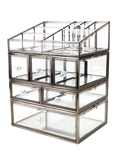 Hersoo Boîte en verre transparent et laiton - Idéale pour ranger bijoux, cosmétiques, maquillage - Grand présentoir