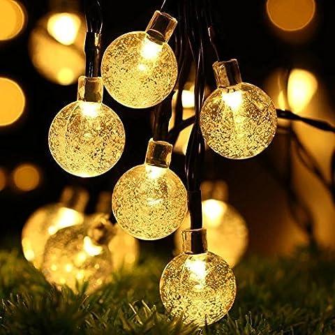 BREEZO Guirnalda de Luces Solar Guirnalda Luminosa de Exterior 30 LED 4.5M Blanco Cálido Bolas de Cristal Para Decoración de Navidad, Jardín, Patio, Fiesta, Dormitorio, Reunión Familiar
