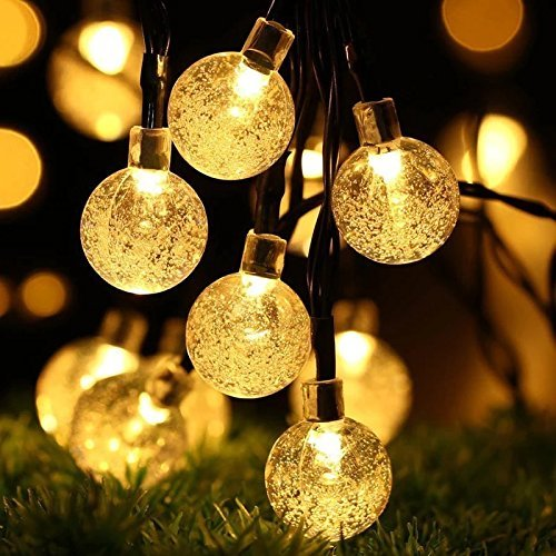 BREEZO Guirnalda Luces solare ghirlanda Luminosa esterna di 30 LED 6M Blanco Cálido Bolas de Cristal Para Decorazione de Navidad, giardino, patio, Fiesta, Dormitorio, Reunion Familiar