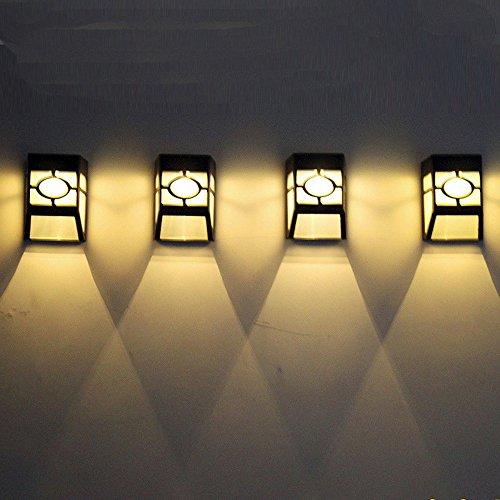 mxjeeio Solar 2 LED Outdoor Indoor Wandleuchte Garten Wand Weg Hof Landschaft LichtWiederaufladbare 1.2V / 1200mAh AA Ni-MH Batterie (im Lieferumfang enthalten) Nimh-wand