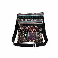HuaMore Embroidered Owl Tote Bags Women Shoulder Bag Handbags Postman Package