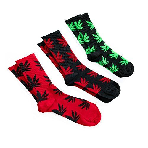 Romens Ltd Set 3 Paia Ganja Calzini Unisex Uomo Donne Weed Rasta Leaf Socks (Set 3 Socks 3 Pairs)