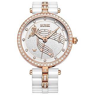 Burei® Damen bl-3029–01AR Elegante Swarovski crystal-accented Keramik weiß Uhr mit Rose Gold Hände