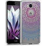 kwmobile Hülle für Huawei Y6 (2017) - TPU Silikon Backcover Case Handy Schutzhülle - Cover klar Indische Sonne Design Blau Pink Transparent