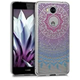 kwmobile Funda para Huawei Y6 (2017) - Carcasa Protectora de [TPU] con diseño de Sol hindú en [Azul Rosa Fucsia Transparente]