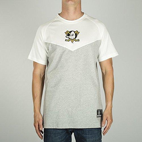 Majestic T-Shirt - NFL Anaheim Ducks Klass Long Line Grau/Weiß Größe: L (Large) - Duck Herren T-shirt