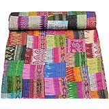 Garvanshi Fabrics Patola Silk Twin Size Inidian Saree Kantha Blanket (Multicolour, 60x90-inch)