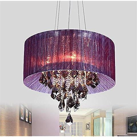 panno lampadario di cristallo salotto LED illumina ristorante romantico lampadario camera da letto ( colore : Viola ) - Viola Panni
