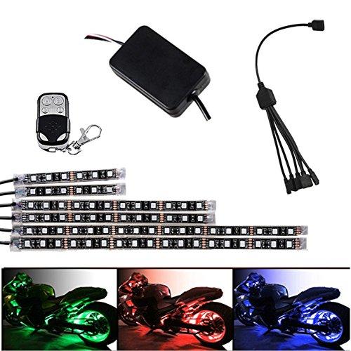 1Drag 6Auto Motorrad LED Atmosphäre Streifen Accent Glow flexibel Leuchte Lampe-Deko, RGB mehrfarbig Lichtleiste RF Fernbedienung Controller für Harley Davidson Honda Kawasaki Suzuki Ducati Polaris