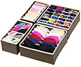 #8: House of Quirk Set of 4 Foldable Storage Box Drawer Divider Organizer Closet Storage for Socks Bra Tie Scarfs - Brown
