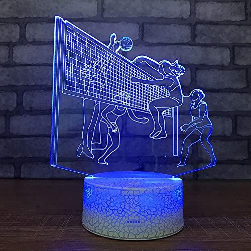 HNXDP frauen volleyball spiel7 farbe lampe 3d visuelle led nachtlichter für kinder touch usb tisch lampara lampe baby schlaf licht