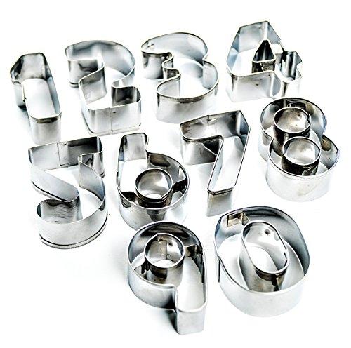 mixed24 Ausstechformen 10 Zahlen 0-9 Set Backform Plätzchen Kekse Ausstecher