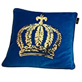 GLÖÖCKLER by KBT Bettwaren 4001626021741 Zierkissen Gefüllt mit goldener Pailletten Krone, 50 x 50 cm, blau