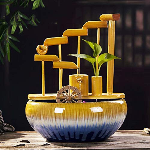 Ceramic fountain ornaments Feng Shui bamboo tube creative sink fish tank home living room office desktop decoration