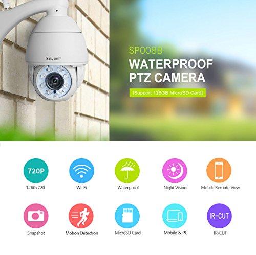 Sricam Exterior Cámara de vigilancia WiFi/Ethernet Cámara IP Dom 720P Alarma de Movimiento Visión Nocturna Impermeable App y Manual en español Sricam App Compatible con iOS y Android y Windows PC