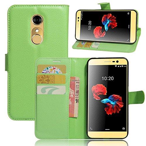 Tasche für ZTE Blade A910 Hülle, Ycloud PU Ledertasche Flip Cover Wallet Case Handyhülle mit Stand Function Credit Card Slots Bookstyle Purse Design grün