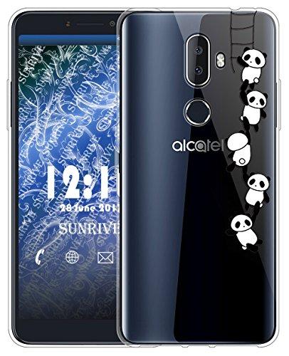 Sunrive Für Alcatel 3V Hülle Silikon, Transparent Handyhülle Schutzhülle Etui Case für Alcatel 3V(TPU Panda 1)+Gratis Universal Eingabestift