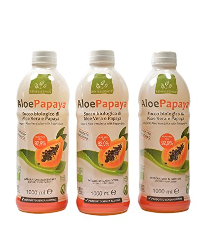 AloePapaya Bio - Succo biologico di Aloe Vera da bere e Papaya - OFFERTA 3 bottiglie da 1l