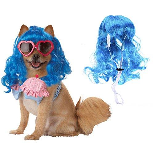 -Perücke Lange lockige Haar-hohe Temperatur-Faser-Haustier-Perücke für Weihnachten Halloween-Festival-Abendkleid oben ()