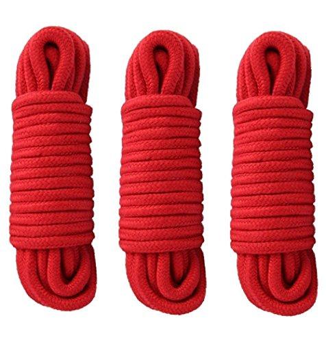 3er Pack 32Füße 10m Soft gedrehtes Seil Baumwolle (rot) -