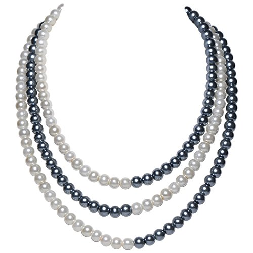 ArtiDeco 1920s Perlen Halskette Damen Gatsby Perlen Kette 20er Jahre Kostüm Accessoires Flapper Zubehör Dual Farbe Halskette Patch Work Stil (Grau Weiß)