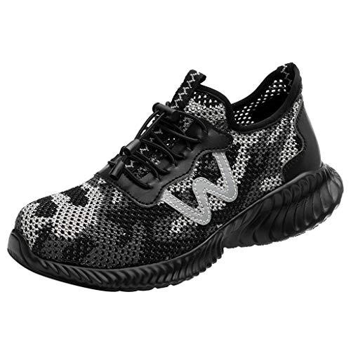 Anti-Milben-Pannen-Arbeitsschuhe atmungsaktiv tragen Mode Sicherheitsschuhe Damen Laufschuhe Atmungsaktiv Turnschuhe Schnürer Sportschuhe Sneaker ()
