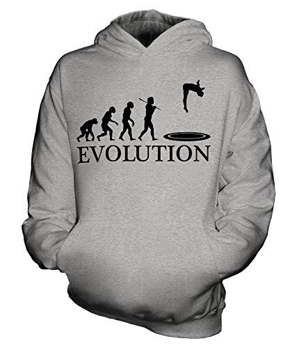 Preisvergleich Produktbild CandyMix Trampolin Evolution Des Menschen Unisex Kinder Jungen/Mädchen Kapuzenpullover, Größe 12-13 Jahre, Farbe Grau Meliert