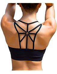 YIANNA Womens Sports Bra Padded Elastic Breathable Wireless High Impact Yoga Bra Top