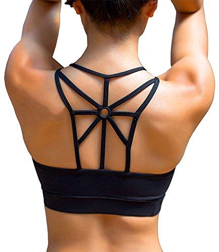 YIANNA Damen Yoga Sport BH ohne Bügel Nahtlos Sports Bra Crop Top Fitness Elastizität Bustier Schwarz mit Abnehmbare Gepolstert ,UK-YA-BRA139-Black-XL (Crop Top Gym)
