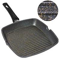 Home Icon Grill asador con Rayas de Granito de Cobre de 29 cm Mango extraíble,