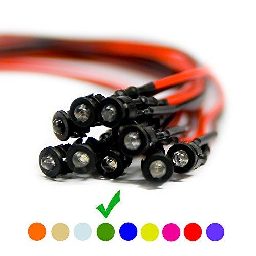 10 x Verkabelte Dioden LED + Plastik Halterung Wired Grün Klare Linse 9V 3mm