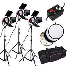 2400W Kit iluminación continua + 110cm reflector, Redhead Luz para iluminación continua, Tungsteno / halógena bombilla, con 2m trípode y bolsa, kit estudio fotografico para televisión, video y