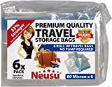 Neusu Assorted Size Roll Up Travel Vacuum Bags - 6 Pack - Premium Quality 80 Micron Storage Bags - 2 x Medium bags (35cm x 50cm), 2 x Large bags (40cm x 60cm) & 2 x Extra Large bags (50cm x 70cm)