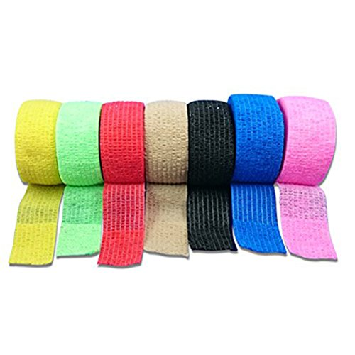 ROSENICE Verband 12 Rolle Cohesive Bandagen selbstklebende Band Stretch sportlich starke elastische Band(Rosa) - Sportliche Wrap