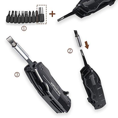 RAVPower 5-in-1 Multi-Tool Taschenmesser Multifunktions-Taschenwerkzeug in Langlebigem Schwarzen Edelstahl