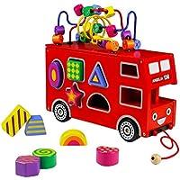 Giochi Puzzle Bead Maze Londra Bus Puzzle Legno Giocattoli Forme Geometriche Legno con Integrato Forma Accessori per Bambini