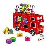 Holzspielzeug Roter Doppeldecker-Spielzeugbus Motorikschleife aus Holz Formen Stecken Stapel Puzzle Bus Ziehen und Holz tolles Geschenk für Kinder Jungen und Mädchen