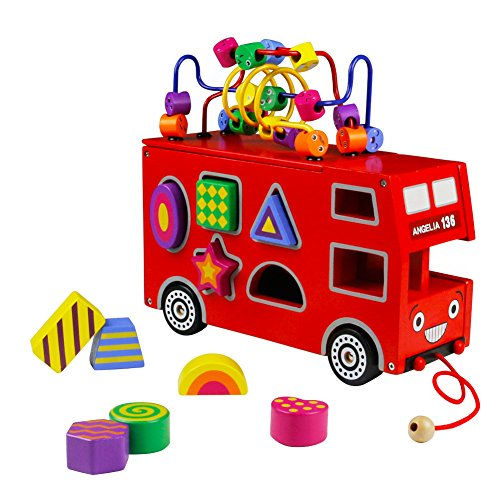 Toy Bus - Geometric Shapes Wooden Drag Toy Red London Bus for Children